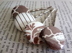 Shabby Chic Chocolate Brown and White by SecondEditionJewelry, $17.00