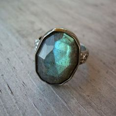 Labradorite Cocktail Ring, Sterling Silver - love that colour