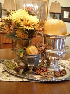 decorating with silver trays   recent garage sale find my silver tray and poked down three little ...