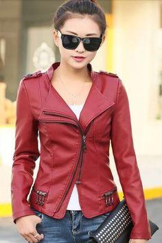 chaquetas de cuero mujer roja - Buscar con Google Chamarra De Piel Mujer 3be38a446420