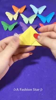 Beautiful Cute Butterflies Origami IdeaBeautiful Cute Butterflies Origami Idea - Everything About Diy Car Origami Butterfly Easy, Origami Flowers Tutorial, Origami Simple, Origami Rose, Cute Origami, Paper Crafts Origami, Cute Butterfly, Butterfly Crafts, Diy Origami