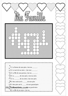 Ma Famille #french #francais Core French, French Class, French Lessons, French Worksheets, French For Beginners, French Education, French Resources, French Language Learning, Teaching French