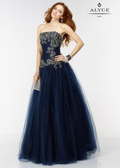 Alyce 6541 Navy/Gold Strapless Corset Back Tulle Ball Gown