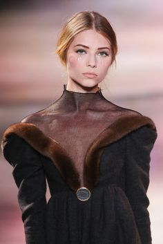 Mock turtleneck in luxuriously thin crepe and fur accents-Ulyana Sergeenko Haute Couture Fall 2013 show Gorgeous!