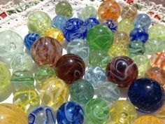 MARBLES:   Some of my Wirepulls obtained from a lady in the UK and a chap in Germany.  The story is that these were made in Amsterdam in the 60's/70's.  Totally unique in the pantheon of marbles.