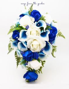This cascade bouquet of blue and white Real Touch roses, Real Touch royal blue Picasso calla lilies, silver accents and rhinestones can be yours to have and to hold on your wedding day! I can create i Topic 18 Cascading Bridal Bouquets, Bridal Bouquet Blue, Cascade Bouquet, Blue Wedding Flowers, Bride Bouquets, Silk Flowers, Wedding Colors, Wedding Blue, Royal Blue Bouquet