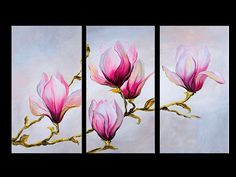 Pink flowers 3 panel painting triptych by LoveCustomArt on Etsy