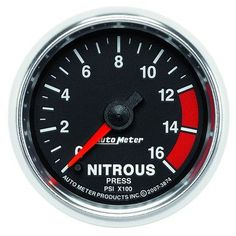 Auto Meter GS Nitrous Pressure Gauge, 0-1600 PSI, Electrical