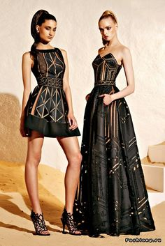 Zuhair Murad 2015: I love these fierce, edgy, and sexy Zuhair Murad dresses! I like the sheer patterns in both the strapless gown and sleeveless short dress.