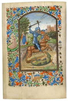 St. George Slaying the Dragon Book of Hours, in Latin Illuminated by the Master of Jean Chevrot Belgium, Bruges