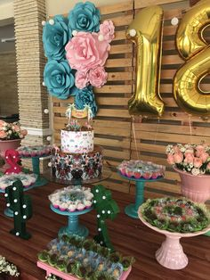 Happy Birthday Decor, Gold Birthday Party, 18th Birthday Party, Birthday Decorations, Birthday Celebration, Birthday Party Themes, Wedding Decorations, Tropical Party, Luau Party
