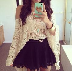off shoulder lace + short skirt. zazumi.com