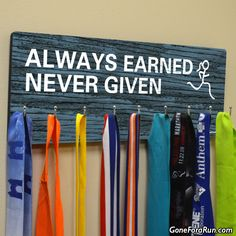 Hooked On Medals Running Medal Hanger from Goneforarun.com. Choose your design, choose your color and all styles can be personalized!