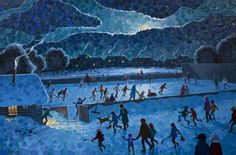 'The Joy of Night Skating' by Bill Brownridge at Mayberry Fine Art