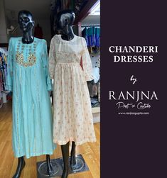 Product on the left: Aqua marine chanderi dress with hand embroidered yoke. Product on the right: Soft peach printed chanderi dress. (Design & Creation by RANJNA) For orders, appointments, online measurements or general enquiries please call Mr. Shishir Gupta - 77 22 000 459. Aqua Marine, Designer Clothing, Appointments, Peach, Printed, Dresses, Couture Clothes, Vestidos, Peaches
