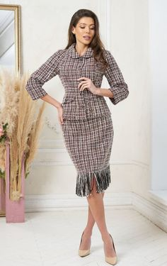 Business tweed suit for women by Olesya Masyutina. Aristocratic skirt set suit jacket with buttons, with pockets, straight skirt with fringe, fully lined suit. 800 models of knitted and fabric women clothes in casual style, evening and wedding