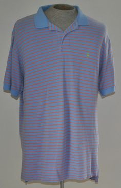 Men's Ralph Lauren Polo Blue & Orange Striped 100% Cotton Shirt Size XL S Sleeve