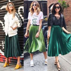 Style: Dressing Up & Down Floral Skirts – Best Fashion Advice of All Time Green Pleated Skirt, Metallic Pleated Skirt, Metallic Skirt Outfit, A Line Skirt Outfits, Pleated Skirt Outfit Casual, Skirt Fashion, Fashion Outfits, Skirts, Clothes