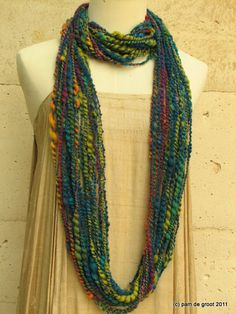 Pam de Groot: Yarn scarf made from carding and spinning leftovers from felting projects