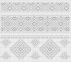 Плечовий візерунок жіночої сорочки. село Війтівка Бершадського району, Вінницької областію. схема вивороту. Початкові вколи позначені крапками. Замочки позначені рисками червоного кольору. Folk Embroidery, Japanese Embroidery, Embroidery Patterns, Cross Stitch Geometric, Cross Stitch Patterns, Ukraine, Bargello, Darning, Brick Stitch