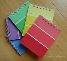 paint chip samples into notepads -- ca-ute!