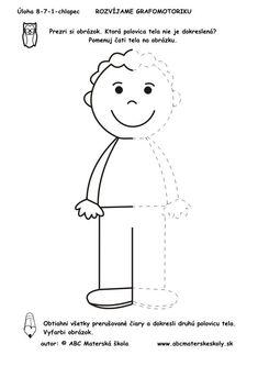 Boy - complete the body All About Me Preschool, Preschool Writing, Preschool Learning Activities, Kindergarten Worksheets, Educational Activities, Kids Learning, Symmetry Worksheets, Kids Education, Pre School