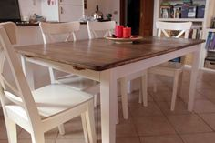 Materials: Svalbo table, water based wood stain, water based white paint, water based finish Description: I have been looking for a country style table for a wh