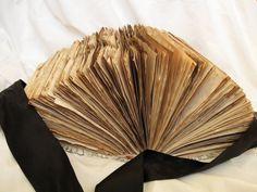 Retro romantic wedding guest book coffee staind by PurpleBirdShop