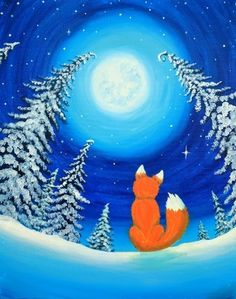 Join us for a Paint Nite event Fri Feb 2016 at 221 Preca. 2019 - AnimalsJoin us for a Paint Nite event Fri Feb 2016 at 221 Precast Way Troutville, VA. Purchase your tickets online to reserve a fun night out! Canvas Painting Tutorials, Diy Canvas Art, Diy Painting, Acrylic Painting For Kids, Christmas Paintings On Canvas, Winter Art Projects, Winter Painting, Art Plastique, Elementary Art