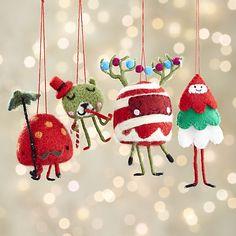 Set of 4 Felt Candy Creatures Ornaments    Crate and Barrel