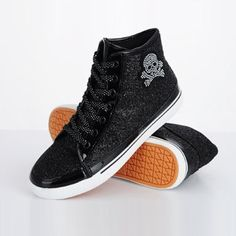 Baskets femme high top sneakers paillete Glitter Skull shiny noir black luxe Fashion style 2013 Ref92