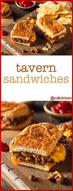 Tavern Sandwiches - Bring the tavern home with these easy sandwiches. Beef simmered in a tangy sauce is served on a bun with pickles and cheese. This recipe makes a big batch and the leftovers are even better! - Made with water, ketchup, chili powder, yellow mustard, onion, horseradish, sugar, ground beef, salt and pepper | CDKitchen.com