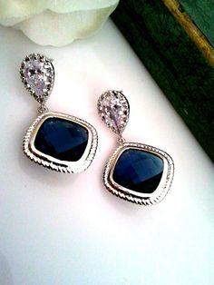 Blauer Saphir Ohrringe - Hochzeit Braut funkelnden Zirkonia Sterling Silber formelle Prom Ohrringe    Geschenk für Ihre liebsten, Familie, Freunde,