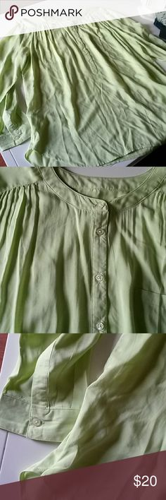 Loft lemon lime green oversized 5 button Very lightweight. .Spring Color...so  soft 5 buttons front pocket...long sleeves LOFT Tops Tunics