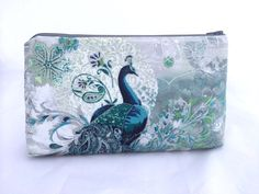 Peacock Bag in Teal and Silver  Great Handbag by JennyGirlDesigns