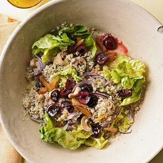 """I'm intrigued by """"honey soaked quinoa"""". Honey-Soaked Quinoa Salad with Cherries & Cashews Cashew Recipes, Cherry Recipes, Quinoa Salad Recipes, Vegetarian Recipes, Healthy Recipes, Quinoa Recipe, Healthy Salads, Healthy Grains, Meal Recipes"""