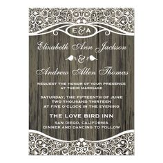 Love Birds Vine Pattern Wedding Invitation — Lacy style love bird vine pattern on a wood grain background is perfect for an elegant, modern, rustic, outdoor, or vintage wedding.Original Illustration by pj_design / jammydesign.