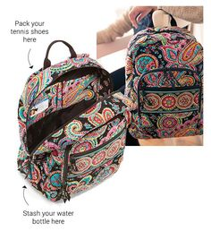 Three of our favorite Vera Bradley styles that have enough room to hold you over for at least a weekend away from home. Carry-on compliant, they're ready to be stowed in an overhead compartment or your trunk. || Vera Bradley Backpack