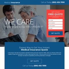 easy medical insurance quote lead gen landing page design