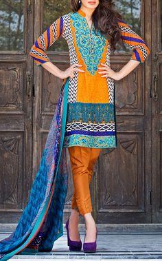 Buy Mustard Embroidered Cotton Lawn Dress by Zainab Chottani Lawn 2015.