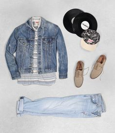 Get Shawn Yue's understated street style. Start classic with Levi's 501 jeans and a Trucker Jacket. Then layer in simple patterns with our striped shirt. Top it off with a bold camo hat.