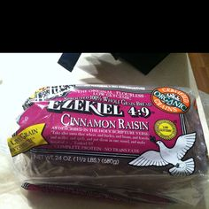 Cinnamon Raisin Ezekiel Bread. Love this bread - so healthy and delish.