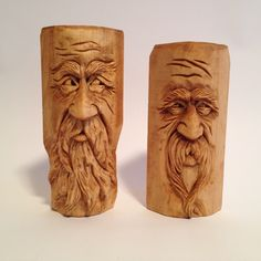 Wood spirits carved by Scott Longpre