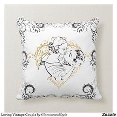 Loving Vintage Couple Throw Pillow Vintage Couples, Romantic Couples, Wedding Couples, Couple Illustration, Custom Pillows, Your Design, Valentines, Throw Pillows, Knitting