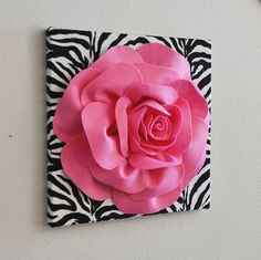 Zebra Wall Hanging Bright Pink Rose on Zebra Canvas - Animal Print Wall Decor