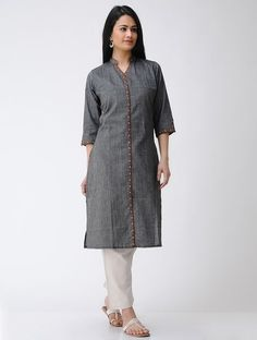 Buy Grey Brown Hand embroidered Cotton Kurta Women Kurtas An Elegant Wardrobe Comfortable and tops with details Online at Jaypore.com