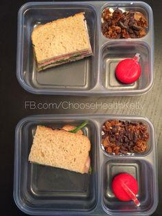 #mykidslunch:  Ham and spinach sandwich on homemade bread. Baby bell.  Greek yogurt with peanut butter, granola, and dark chocolate. (A rare treat).   Fb.com/ChooseHealthKelly