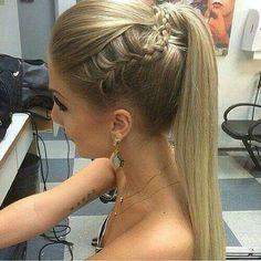 Straight ponytail with braid Nail Design, Nail Art, Nail Salon, Irvine, Newport Beach Dance Hairstyles, Homecoming Hairstyles, Formal Hairstyles, Braided Hairstyles, Wedding Hairstyles, Prom Ponytail Hairstyles, Straight Hairstyles For Prom, Straight Prom Hair, Fast Hairstyles