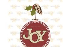 Joy Round Ornament By Honeybee SVG