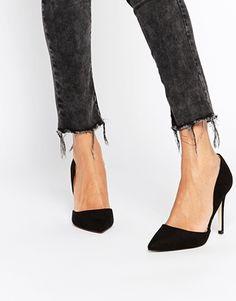 Head Over Heels - Callina - Scarpe nere in due parti a punta con tacco  Scarpe afadaa66770